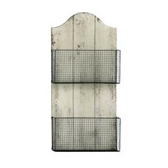 Benzara Two Wire Mesh Wall Basket With White Finish Mdf Plaque