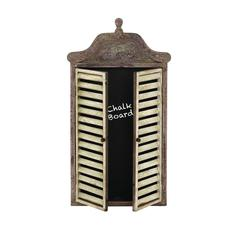 Benzara Abies Wood Wall Blackboard Cabinet With Shutter