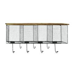 Benzara Wood Metal Wire Mesh Wall Pocket With Seven Metal Hooks