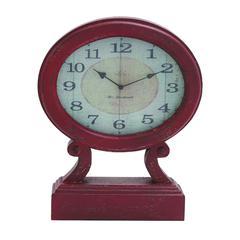 Rustic Wood Table Clock In Maroon Shade