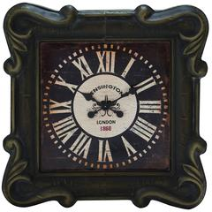 Square Shaped Metal Wall Clock With Beautifully Forged Metal Frame