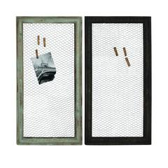 Benzara Wood Metal Wall Décor Assorted Set Of Two With Wooden Frame And Wire Mesh