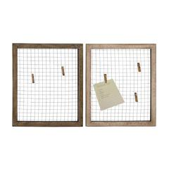 Set Of Two Wood Metal Wall Décor Assorted With Wire Mesh