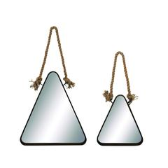 Benzara Elegant Triangle Shaped Metal Mirror With Rope Handle