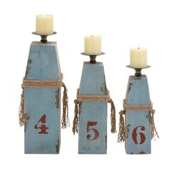 Customary Styled Wood Metal Candle Holder