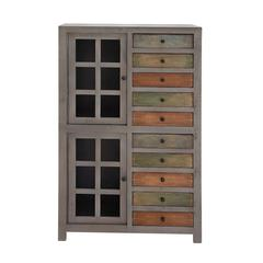 Benzara The Exceptional Wood Glass Cabinet With Drawer