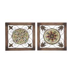 Benzara Attractive Metal Wood Wall Plaque 2 Assorted