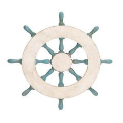 Benzara Creative Enchanting Styled Wood Ship Wheel