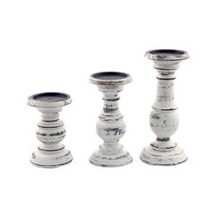 Benzara Short And Sweet Wooden Candle Holder Set Of Three In White Paint Finish