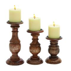 Short And Sweet Wooden Candle Holder Set Of Three In Natural Wood Finish