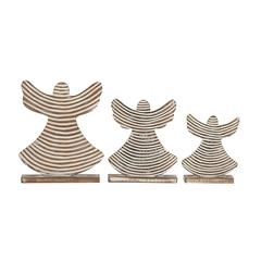 Lovely Set Of 3 Wood Angel