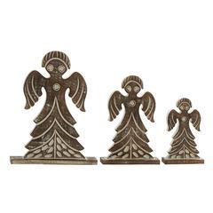 Benzara Charming Set Of 3 Wood Angel