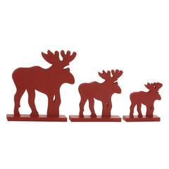 Attractive Red Wood Reindeer Set Of 3