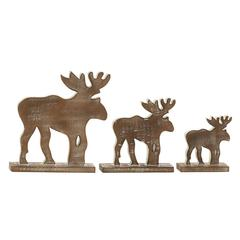 Neat Wood Finish Wood Reindeer Set Of 3