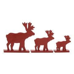 Benzara Red Wood Reindeer Set Of 3