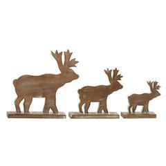 Benzara Natural Wood Finish Wood Reindeer Set Of 3