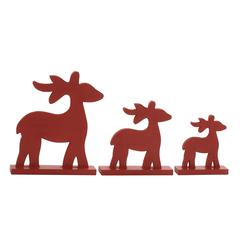 Striking Red Wood Reindeer Set Of 3