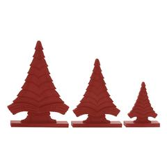 "Benzara Red Wood Christmas Tree Set Of 3 8"", 12"", 14""H"