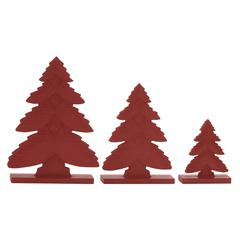 "Benzara Classy Red Wood Christmas Tree Set Of 3 8"", 12"", 15""H"