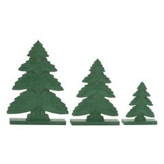 "Benzara Chic Green Wood Christmas Tree Set Of 3 8"", 12"", 15""H"