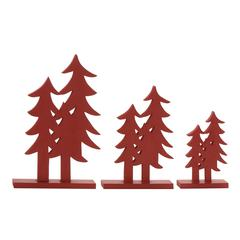 "Red Wood Christmas Tree Set Of /3 10"", 12"", 16""H"