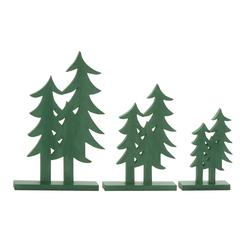 "Green Wood Christmas Tree Set Of 3 10"", 12"", 16""H"