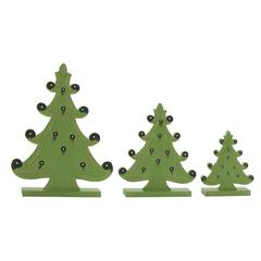 "Light Green Wood Christmas Tree Set Of 3 9"", 12"", 17""H"