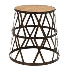 """Benzara Vintage Inspire Metal Wood Stool 18""""H, 14""""W"""