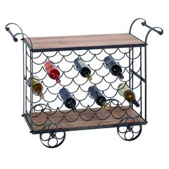 "Benzara Bar Cart - Metal Wood Wine Trolley 40""W, 31""H"