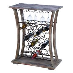 "Benzara Tall Wood Metal Wine Bar 40""H, 32""W"