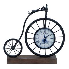 "Benzara Metal Wood Bike Clock 14""H, 14""W"