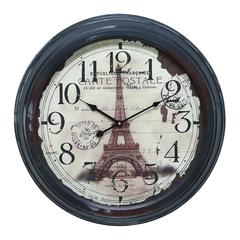 Metal Wall Clock With Picture Of Eiffel Tower