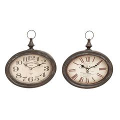 Benzara Stylish And Durable Assorted Chinese Metal Wall Clock - Set Of 2