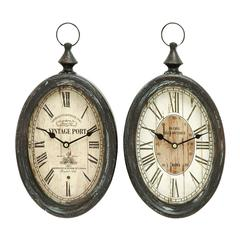 Benzara Oval Shape Sophisticated Assorted Metal Wall Clock - Set Of 2