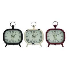 Benzara Shanghai Antique Styled Metal Table Clock 3 Assorted