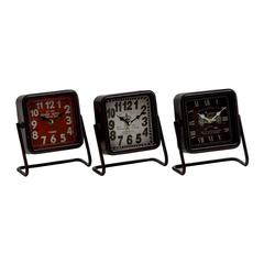 Artistic Metal Square Table Clock 3 Assorted