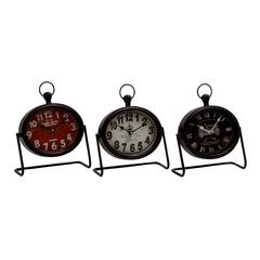 Benzara Vintage Themed Metal Table Clock 3 Assorted