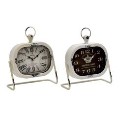 Benzara Classic Metal Table Clock 2 Assorted