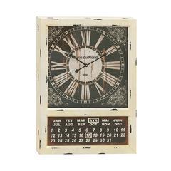 Benzara Vintage Styled Metal Calendar Clock