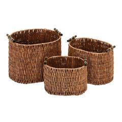"""Rattan Basket Set/3 15"""", 13"""", 11""""W Unique Home Accents"""
