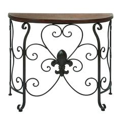 Wooden And Metal Console Table With Antiqued And Rusty Look