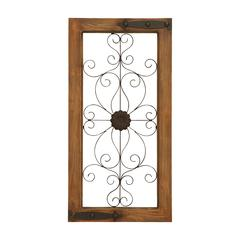 Wooden Auburn Tinged And Metal Wall Panel With Floral Design
