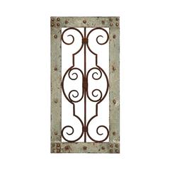 Antiqued Wooden And Metal Wall Panel With Vintage Ruggedness