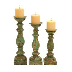 Benzara Wooden Candle Holder In Calming Green Finish - Set Of 3