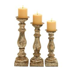 Benzara Wooden Candle Holder With Rounded Edges In Beige Hue - Set Of 3
