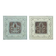 Benzara Metal Wall Decor 2 Assorted With Dark Brown Art Work