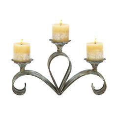 "Metal Candle Holder 15""W, 9""H"
