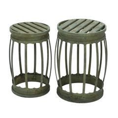 Benzara Barrel Shaped Metal Stool With Greenish Finish- Set Of 2