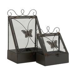 Benzara Beautiful Styled Metal Glass Planter