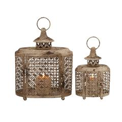 The Rustic Set Of 2 Metal Candle Lantern
